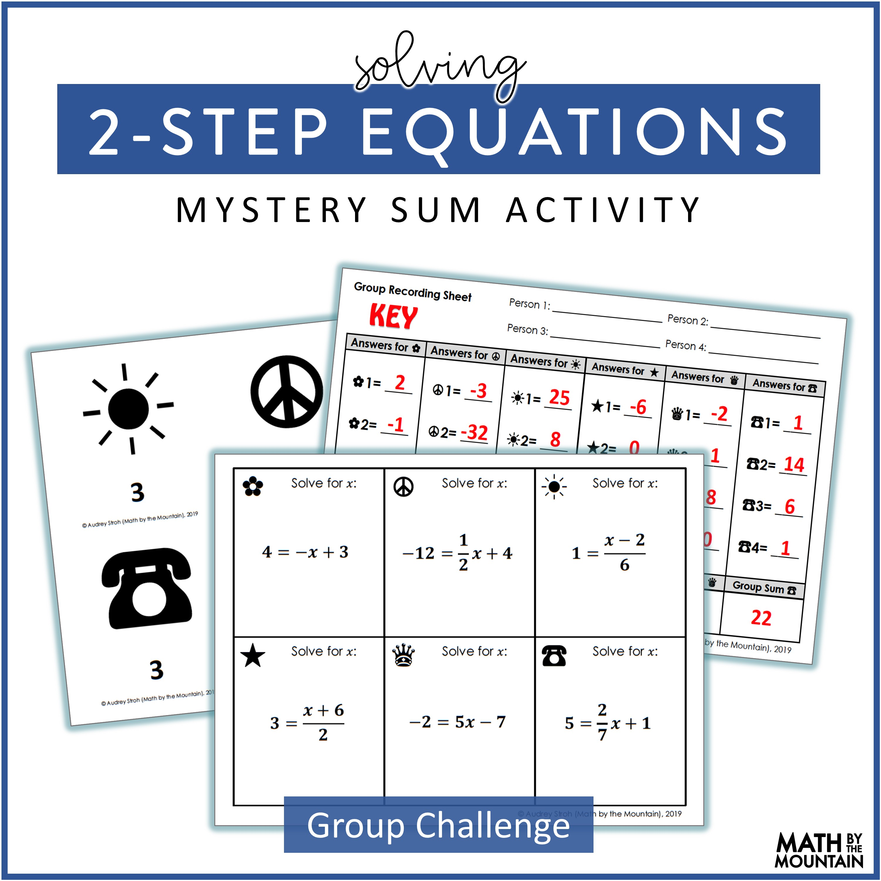 Solving 2-Step Equations Activity Freebie